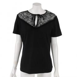 Pinko czarna koszulka z koronką na górze